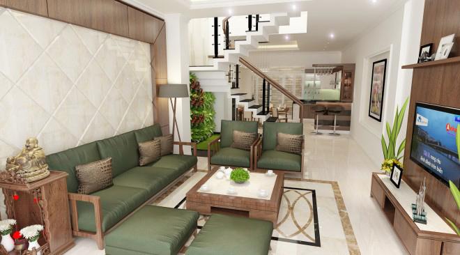 Mẫu nội thất nhà phố với không gian xanh thoáng đãng