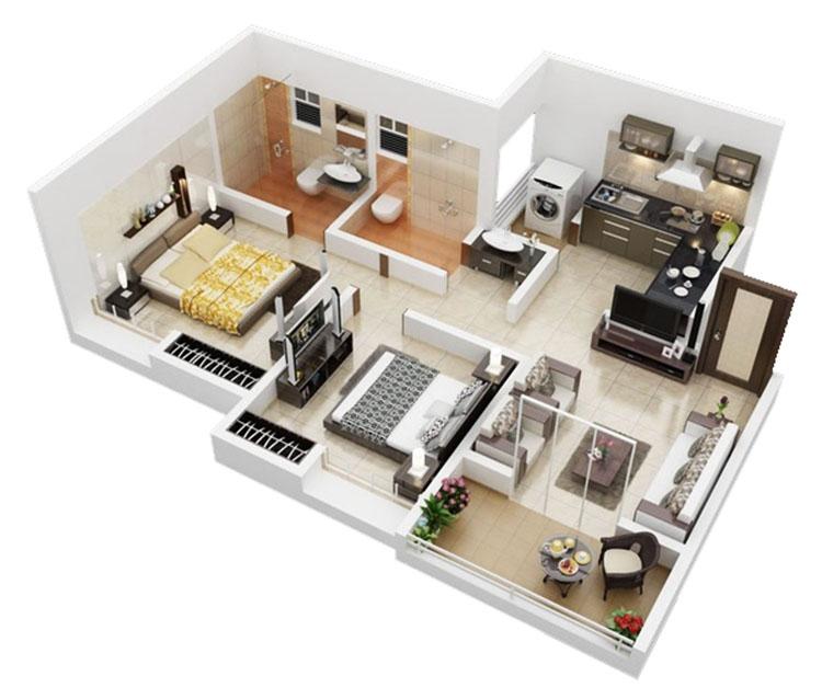 10 thiết kế nội thất căn hộ 60m2 2 phòng ngủ