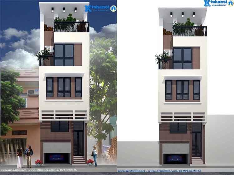 Thiết kế nhà phố có gara và cầu thang máy