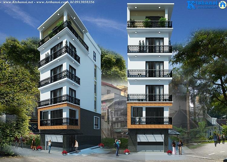 Thiết kế nhà phố 6 tầng có thang máy